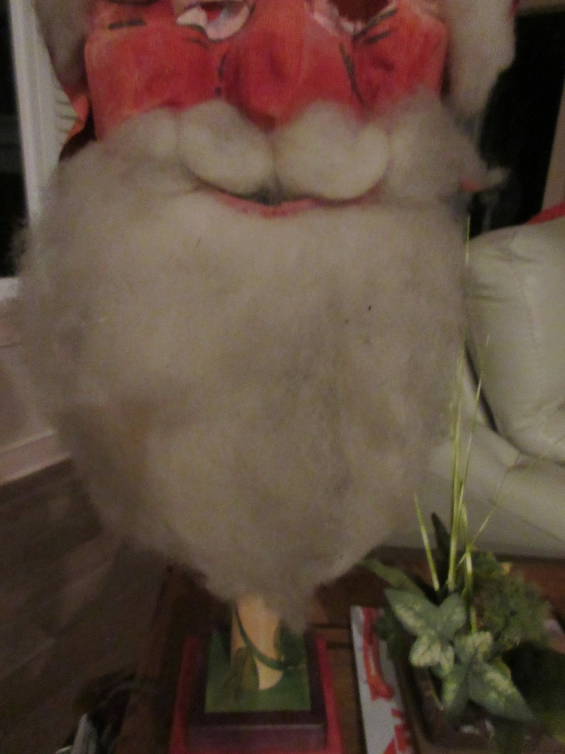 old 1940s or older buying as is Vintage Santa Claus mask GAUZE type.. The beard and eyebrow cotton is very dirty from age.