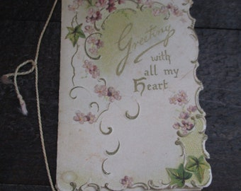 Greeting with all my heart – Antique – Glad Greetings by M S Haycraft – Raphael  Tuck & Sons Ltd.
