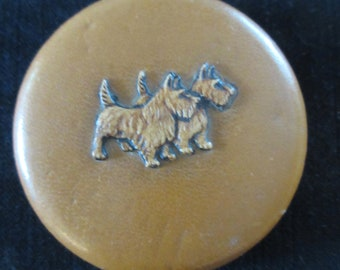 Vintage - Double Scottie - Terrier - Scottish Terrier Dogs - Nice Mirror - closes nicely no powder or puff - Can use as a pill box, or other