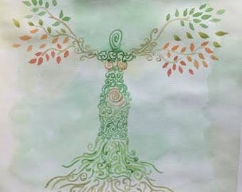 Mother Nature Watercolor Painting, Wiccan Mother Earth, Pagan Painting, Wicca