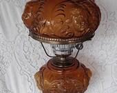 Vintage Fenton Amber Cherub Gone with the Wind Hurricane Lamp