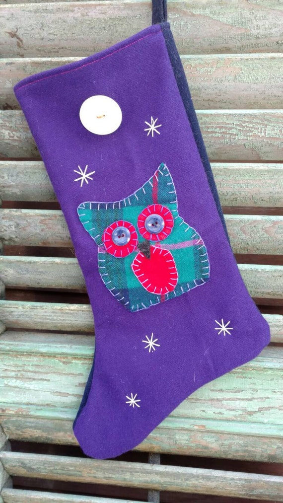 Christmas Stocking Wool Night Owl with vintage buttons