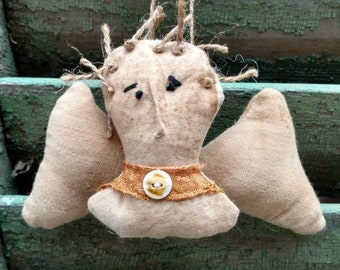 Primitive grungy linen and muslin angel ornament