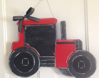 Red Tractor Wooden Door Hanger