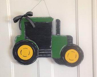 Green Tractor Wooden Door Hanger