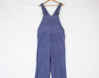 290fdb1b343b Vintage 70s Unisex Golden Horse Blue Denim Medium Large Overalls 36 Waist