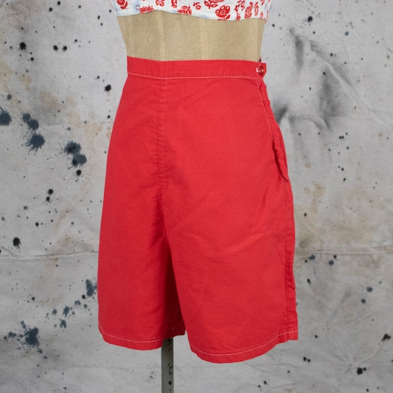 Vintage Womens 50s Size 29 High Rise Red Cotton Si