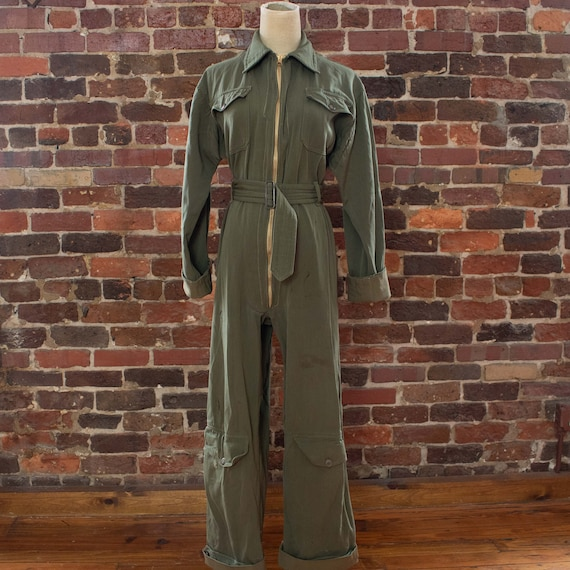 Vintage Womens 40s Small Medium Green Military Fli