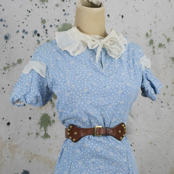 Vintage Womens 30s Small Blue Feedsack Floral Nove