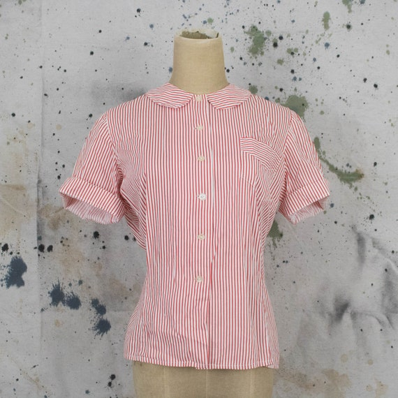 Vintage Womens 50s Large or XL Red and White Strip
