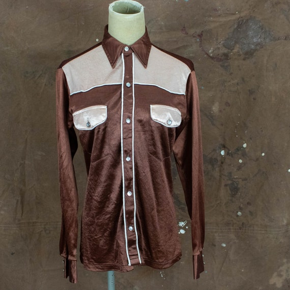 Vintage Unisex 70s XS Small Brown and Peach Liquid