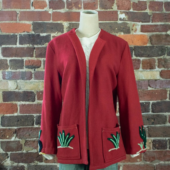 Vintage Womens 40s Medium Large Red Wool Mexican S