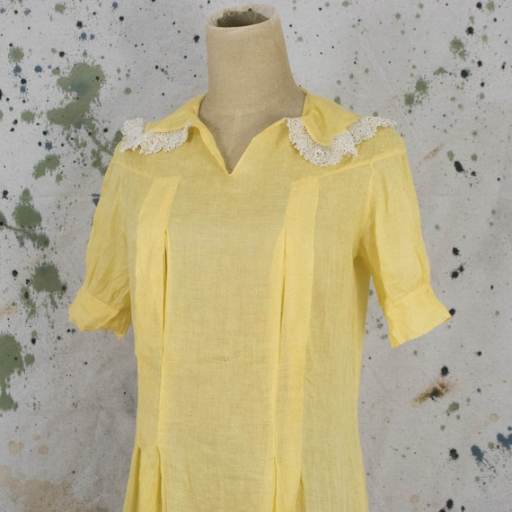 Vintage Womens 30s Small Medium Yellow Drop Waist