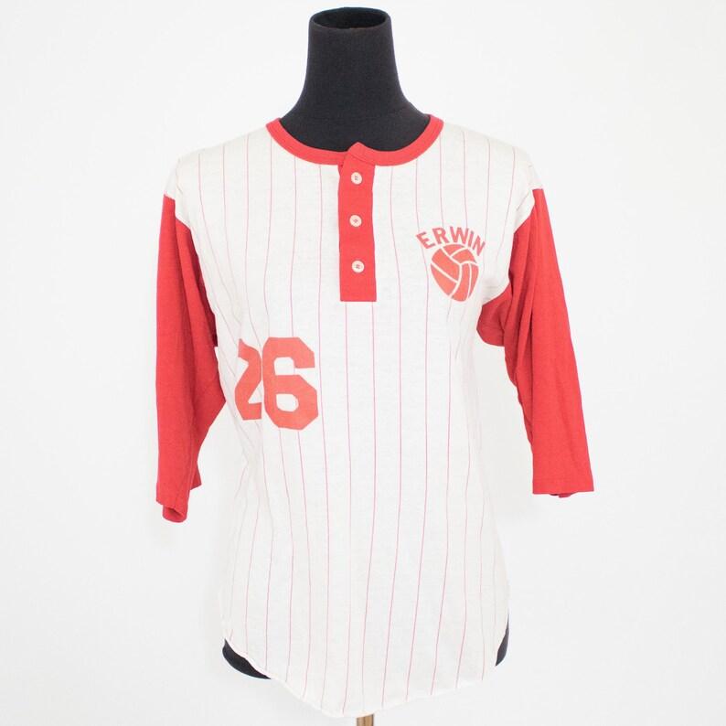 aaaa63a90 Vintage 80s Unisex Medium Large Striped Baseball Jersey T | Etsy