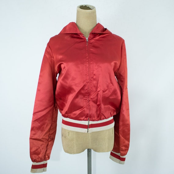 Vintage Womens 40s Medium Large Red and White Sat… - image 1