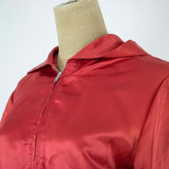Vintage Womens 40s Medium Large Red and White Sat… - image 4