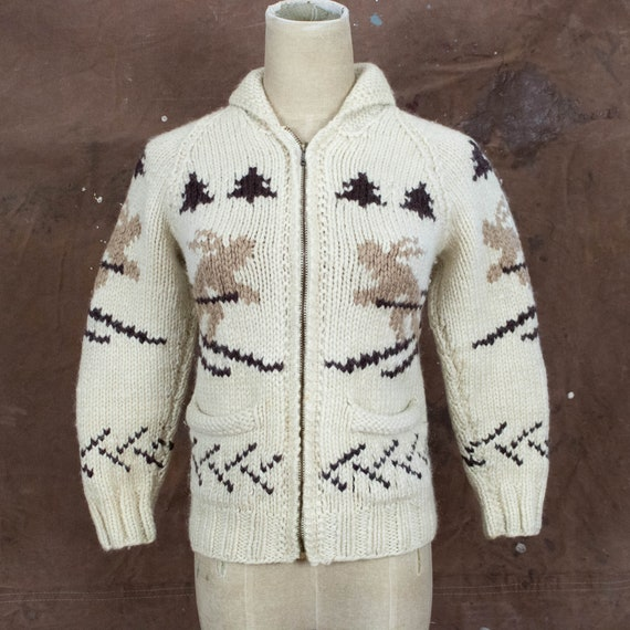 Vintage Womens 50s XS Small Handknit Wool Skiing W