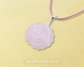 Gemstone Rose Quartz pendant necklace, Carved Rose Quartz rose pendant, 925 Sterling Silver bail, Satin Cord necklace, InfinityCraftArts