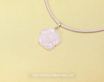 Gemstone Rose Quartz pendant necklace, Carved Rose Quartz flower pendant,Vermeil 925 Sterling Silver bail,Leather necklace,InfinityCraftArts
