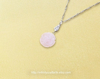 Rose Quartz pendant necklace, Carved Rose Quartz rose pendant, White Gold filled Cubic Zirconia bail and choker necklace,InfinityCraftArts