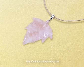 Gemstone Rose Quartz pendant necklace, Rose Quartz leaf necklace, Gemstone leaf pendant, Filigree Bail, Leather cord, InfinityCraftArts