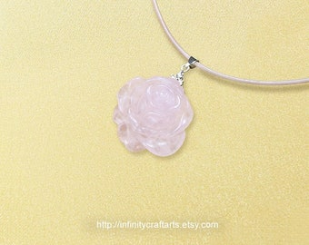 Gemstone Rose Quartz pendant necklace, Carved Rose Quartz rose pendant, Gemstone Flower pendant necklace, Leather necklace,InfinityCraftArts