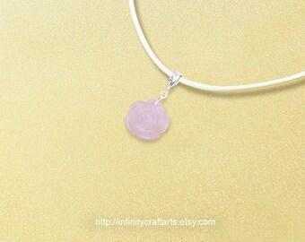 Gemstone Rose Quartz pendant necklace, Carved Rose Quartz rose pendant necklace, 925 Sterling Silver bail,Leather necklace,InfinityCraftArts