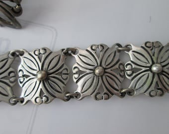 Handcrafted BRACELET & EARRINGS set! Vintage Rancho Allegre Taxco Mexico: circa 1960's sterling .925 silver
