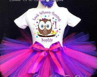 2860f7451 Owl Look WHOOS Turning Purple Rainbow Brown 1st First Birthday Tutu Outfit  Custom Personalized Baby Girl Shirt Tutu Headband 3 Piece Set