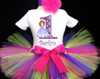 277a79b5f Sofia the First 1st Princess lavender Damask 1st First Birthday Tutu Outfit  Custom Personalized Baby Girl Shirt Tutu Headband 3 Piece Set