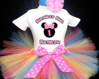 b835b8d66 Minnie Mouse Rainbow Pink Polka dots 1st First Birthday Tutu Outfit Custom  Personalized Baby Girl Shirt Tutu Headband 3 Piece Set