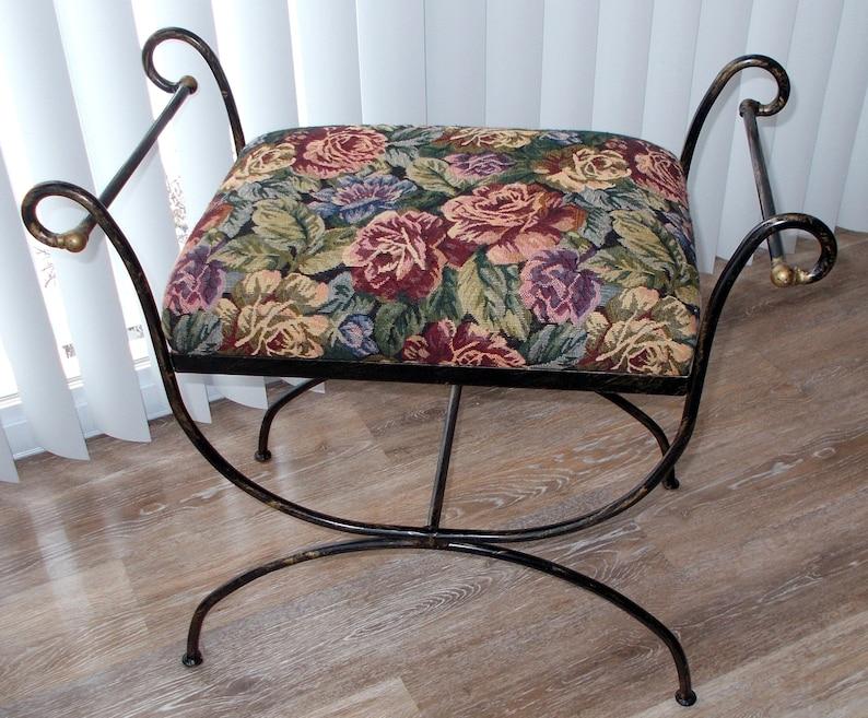 Pleasant Vintage Hollywood Regency Iron Vanity Stool Bench Dailytribune Chair Design For Home Dailytribuneorg