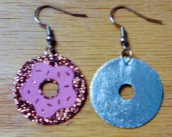 donut earrings, birthday earrings, summer earrings, birthday, donuts, donut, dangle earrings, drop earrings,
