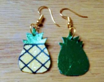 pineapple earrings, summer earrings, faux leather, pineapple, pierced earrings, dangle drop earrings,