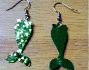 mermaid tail earrings,  summer earrings, faux leather, htv, mermaid tail, pierced earrings, dangle earrings, drop earrings,