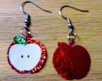 red apple earrings, fall earrings, red apple, dangle drop earrings, pierced  earrings, for her,