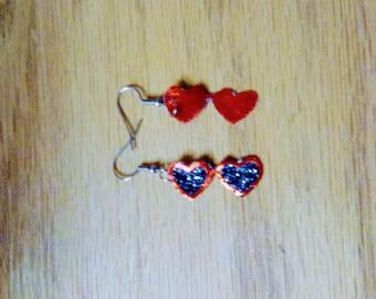 red heart sunglasses, summer earring line, faux leather, dangle drop earrings, pierced earrings, for her
