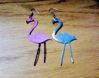 flamingo earrings, summer earring line, pierced earrings, for her, faux leather, dangle and drop earrings