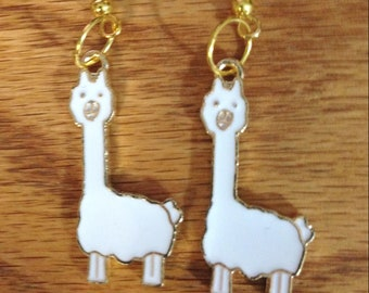 Llama alpaca Love Dangle Drop Earrings With purple blue Tassel