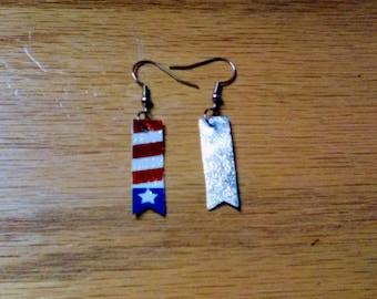 flag star earrings, 4th of July Line,  summer earring line, faux leather, pierced  earrings, for her, dangle drop earrings,
