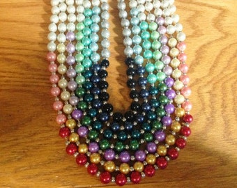 ombre necklaces, ombre Line, pearl necklaces, colored pearls, graduated color, chain necklace,