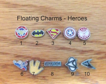 floating charms, Heroes charms, super heroes, super star, famous, small charms,