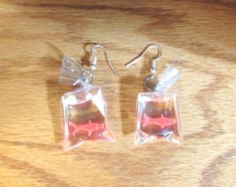 fish in a bag earrings, dangle earrings, pierced earrings, goldfish in a bag, funny earrings,