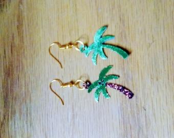 palm tree earrings, summer earrings, faux leather, dangle drop earrings, pierced earrings, for her