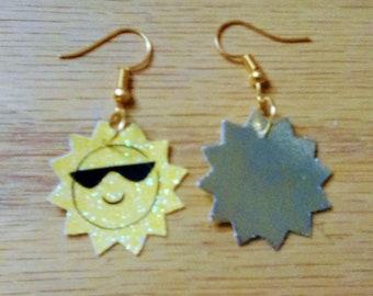 sun earrings, faux leather, summer earrings, sun, sunglasses, dangle  drop earrings, pierced earrings,