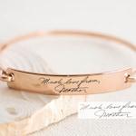 Custom Actual Handwriting Jewelry • Handwriting Bangle • Engrave Signature Bracelet • Sentimental Gift • Mother Gift • GRANDMA GIFT • BM25