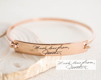 Custom Actual Handwriting Jewelry • Handwriting Bangle • Engrave Signature Bracelet • Sentimental Gift • Mother Gift • GRANDMA GIFT • BM25