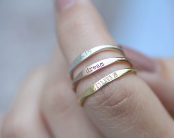 Custom Name Ring • Personalized Stacking Ring • Skinny Stackable Names Ring in Sterling Silver • Bridesmaids Gift • New Mom Gift • RM21F31