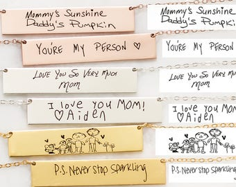 Custom Handwriting Necklace • Signature Necklace • Engraved Handwriting Bar Necklace • Memorial Signature Keepsake Jewelry • Mom Gift • NM22