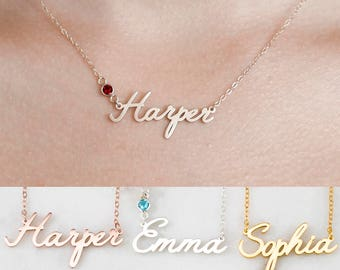 Custom Name Necklace • Personalized Name Necklace • Baby Girl Name Necklace • Children Name Jewelry • Bridesmaid Gift • Mom Gift • NH04F29
